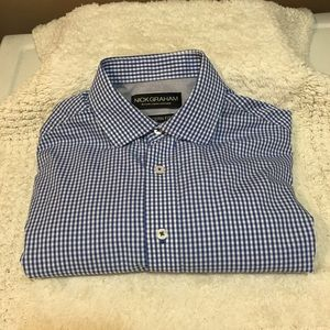 Nick Graham Modern Fit Blue/white checked shirt